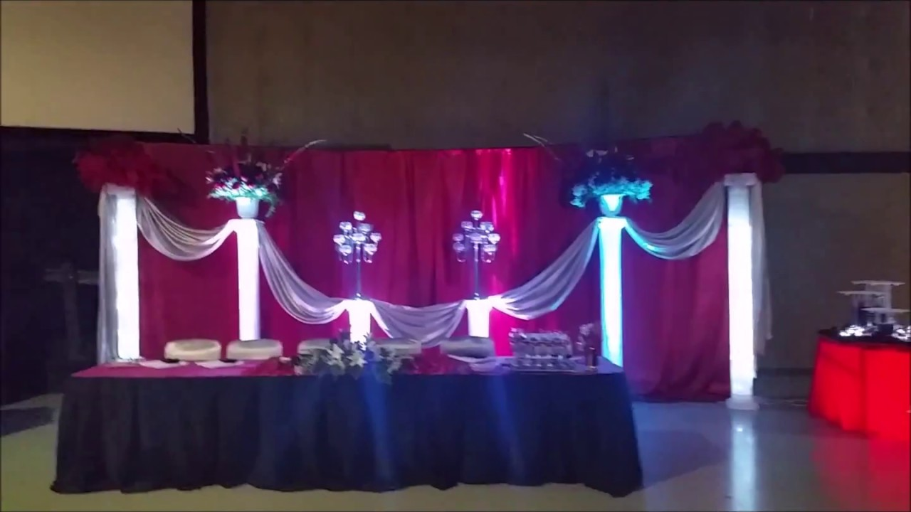 Faos events decoracion color rojo plata y negro youtube - Salones blanco y negro ...
