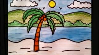 How to draw coconut tree beach scenery drawing for kids