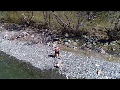"""Купание в горной речке Теберда, База отдыха """"Ольховая"""""""