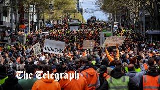 video: Melbourne police fire pepper balls, pellets as anti-lockdown protests turn violent