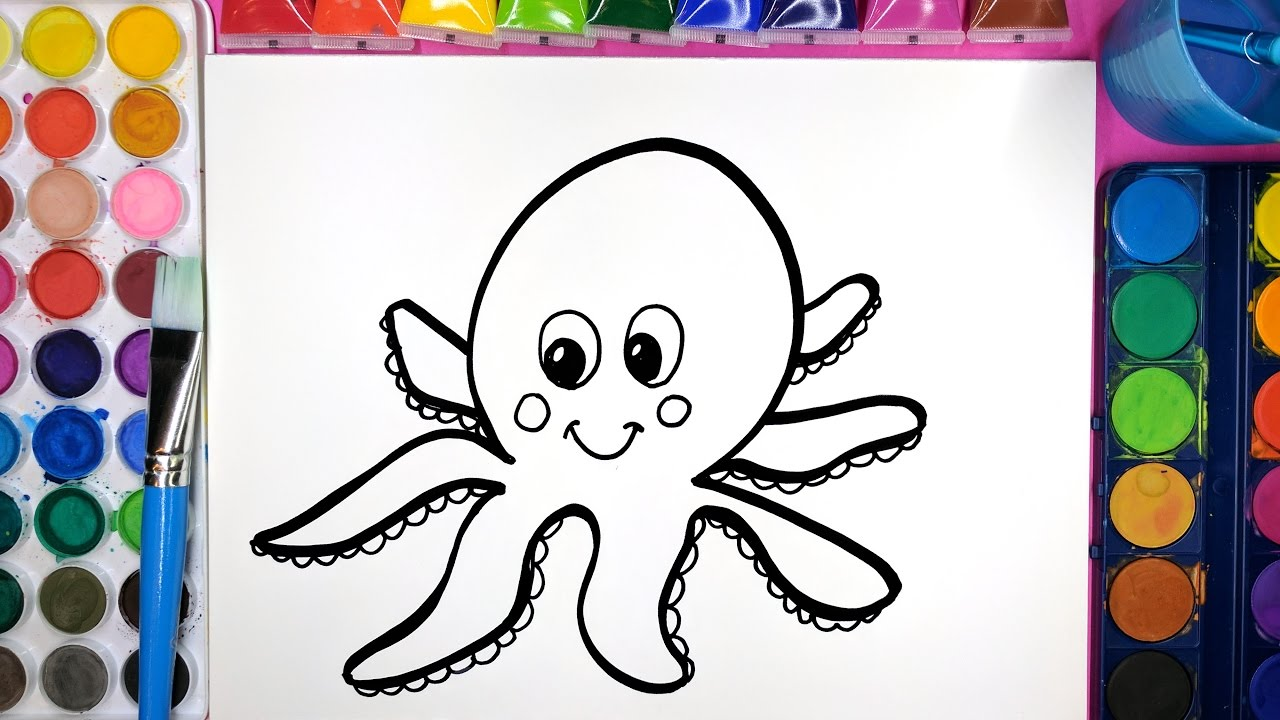 colouring painting and how to draw a smiling octopus colouring