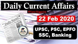 22 February Daily Current Affairs 2020 | The Hindu | PIB News in Hindi By Veer | Nano Magazine | SLV