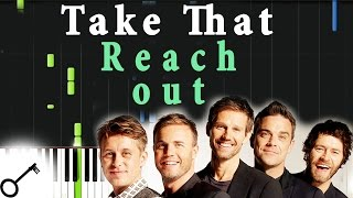 Take That - Reach out [Piano Tutorial] Synthesia | passkeypiano