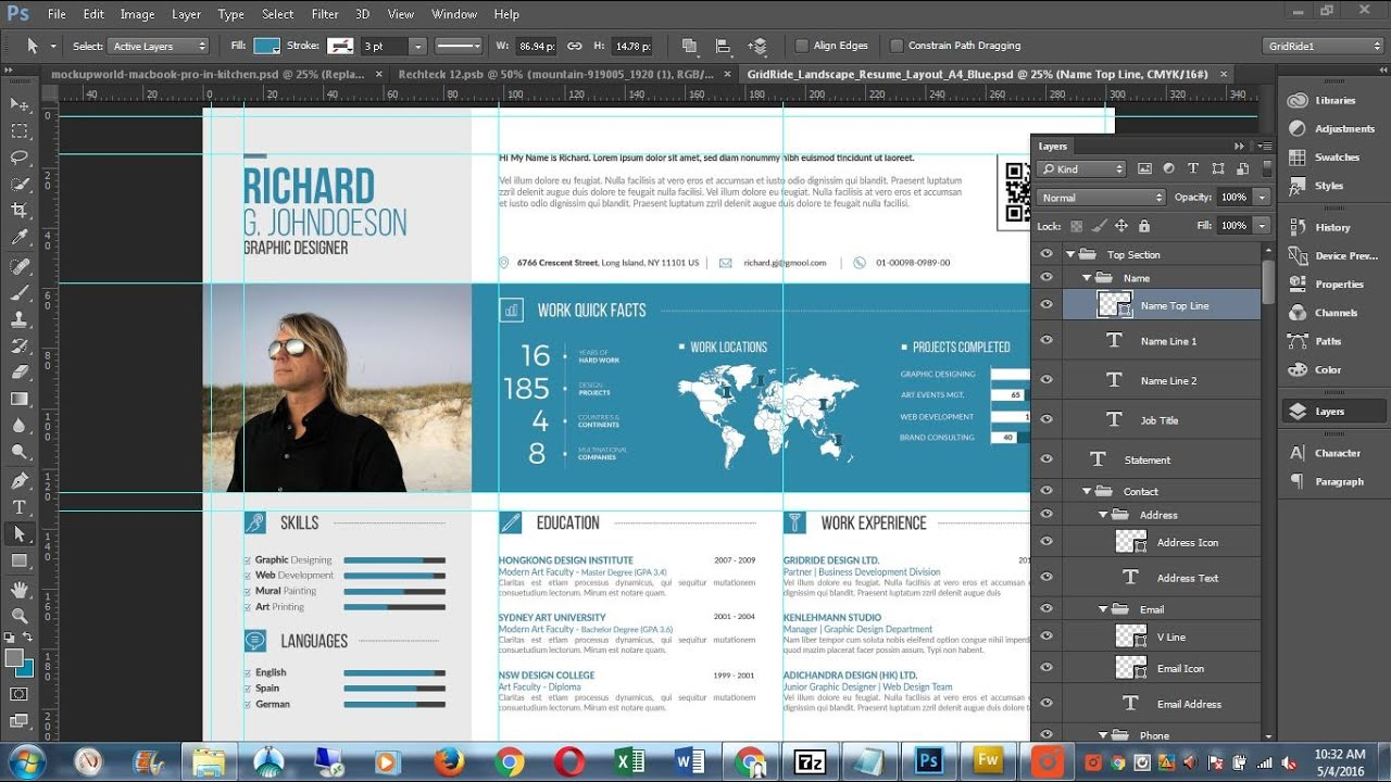 customise cv resume template in photoshop
