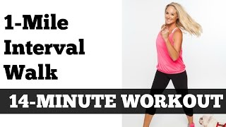 1 Mile Fast Interval Walk | Low Impact Indoor Power Walking Jogging Workout