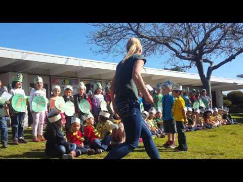 Halecrest Elementary School Kindergartners recite Cal Poly Alma Mater