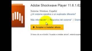 Descargar e instalar ADOBE SHOCKWAVE PLAYER