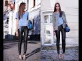 Denim shirt and leather pants trend 2018