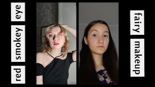 russian girls recreating different makeup looks (red smokey eye and fairy makeup)