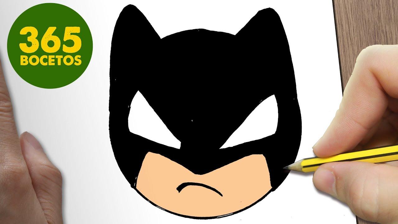 Como Dibujar Batman Emoticonos Whatsapp Kawaii Paso A Paso