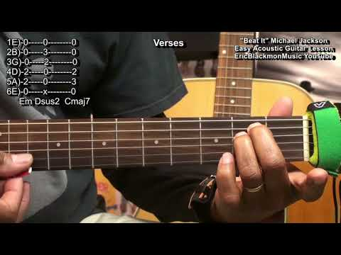 How To Play BEAT IT For Dummies Easy Michael Jackson Acoustic Busking Guitar Lesson HQ