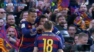 ملخص مبارة برشلونة و أتلتيكو مدريد 2-1 الدوري الإسباني 30-1-2016