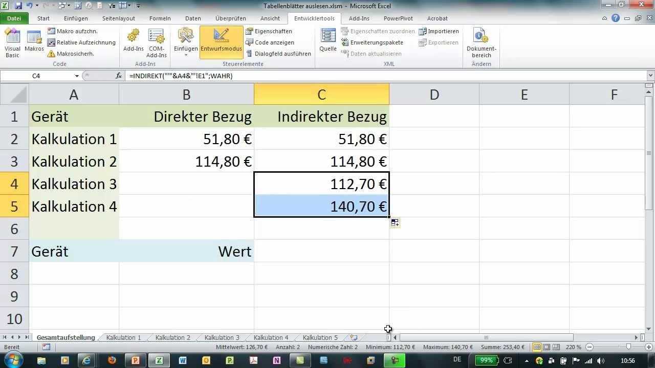 Excel - INDIREKT - Werte aus anderen Tabellenblättern auflisten ...