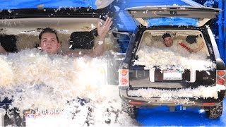 1 MILLION FEATHERS IN CAR! PRANK