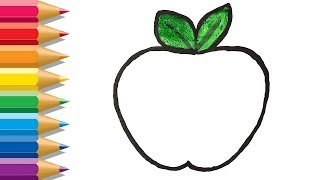 How to Draw Apple Easy | Apple Coloring Pages | Apple Painting | Learn Coloring