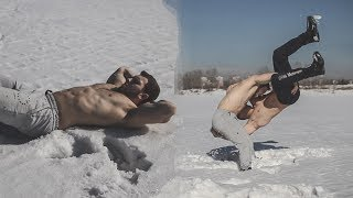 Wrestling in snow with crazy Russian muscle boys