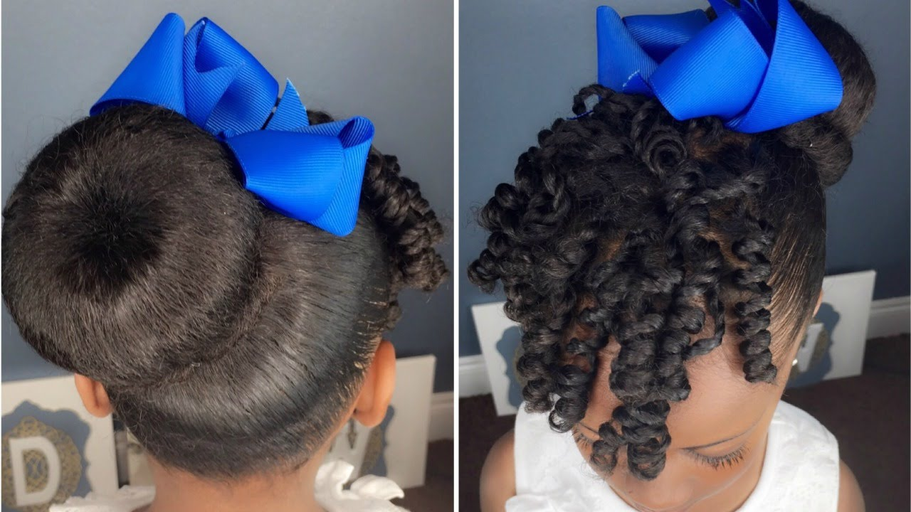 Sock Bun Amp Curls Tutorial Kids Natural Hairstyle