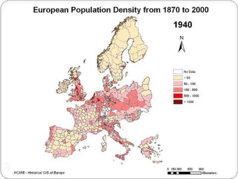Evolution of the European population density, 1870-2000