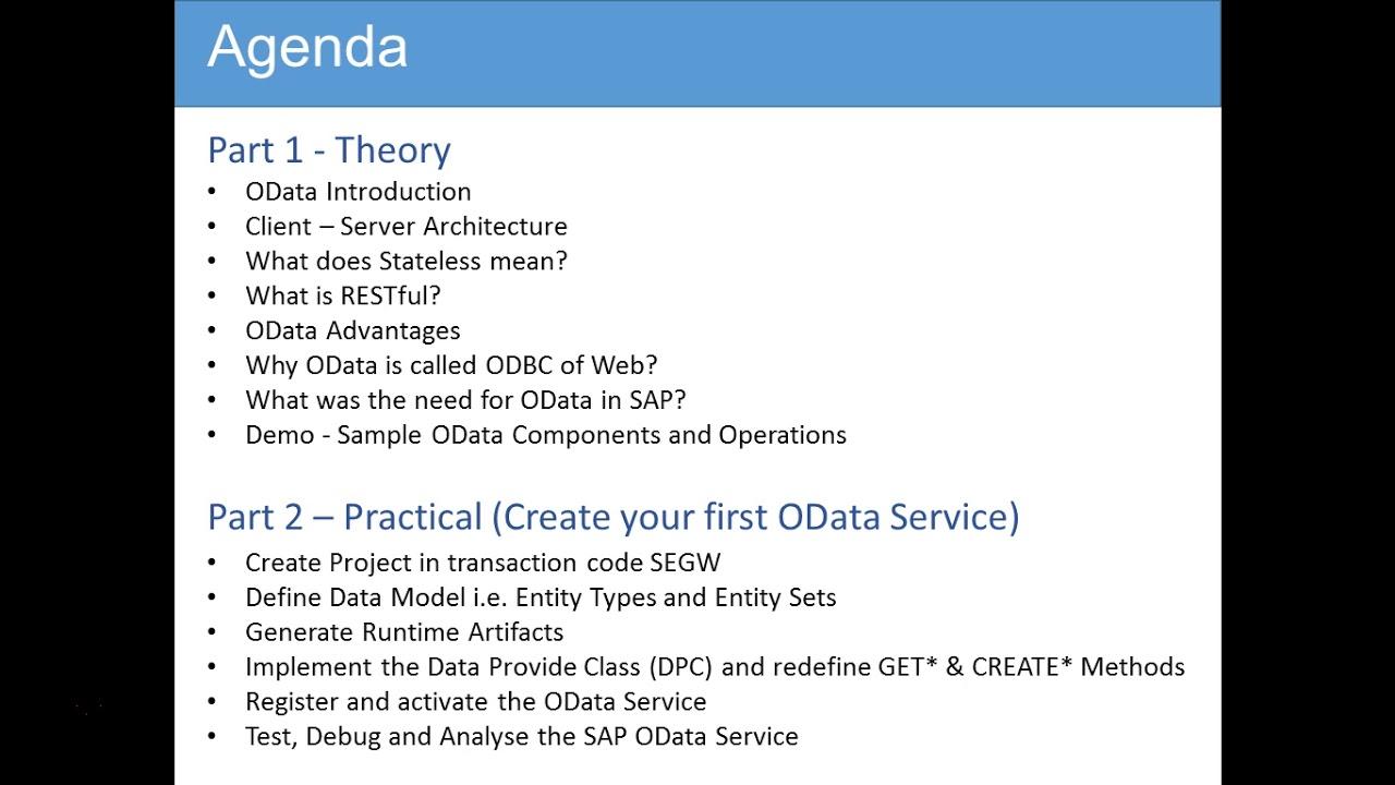 OData & SAP Netweaver Gateway - 003 Agenda