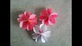 как сделать Цветок Сакуры из цветной бумаги. Простые поделки