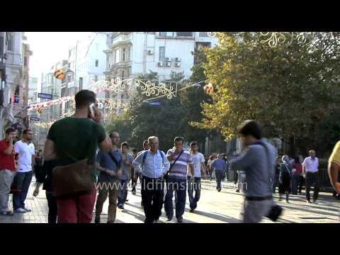 Busy pedestrian street in Istanbul - Turkey