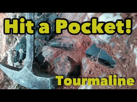 Mining a Giant Pocket of Black Tourmaline Crystals