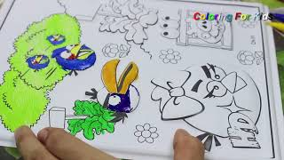 Coloring Angry Birds Space Coloring Page With Crayola Supertips Fiber Pens