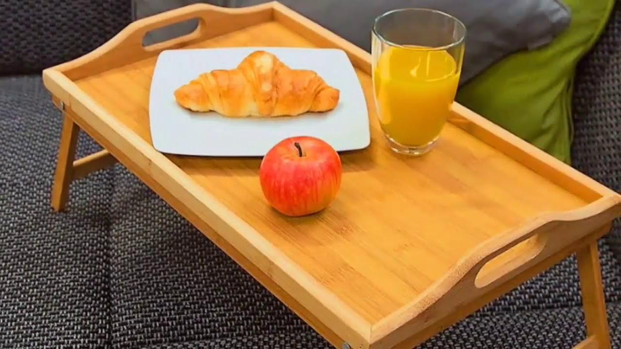Bandeja desayuno de madera de bamb con patas plegables levivo set540724270 youtube - Bandeja con patas ...