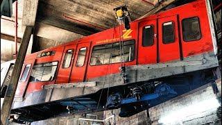 Carmelit subway - hoisting and rotating old cars כרמלית - פינוי וסיבוב קרונות ישנים