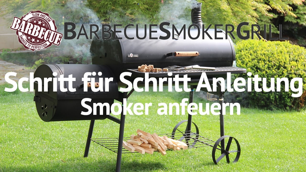 smoker schritt f r schritt anleitung anfeuern mit holz kohle youtube. Black Bedroom Furniture Sets. Home Design Ideas
