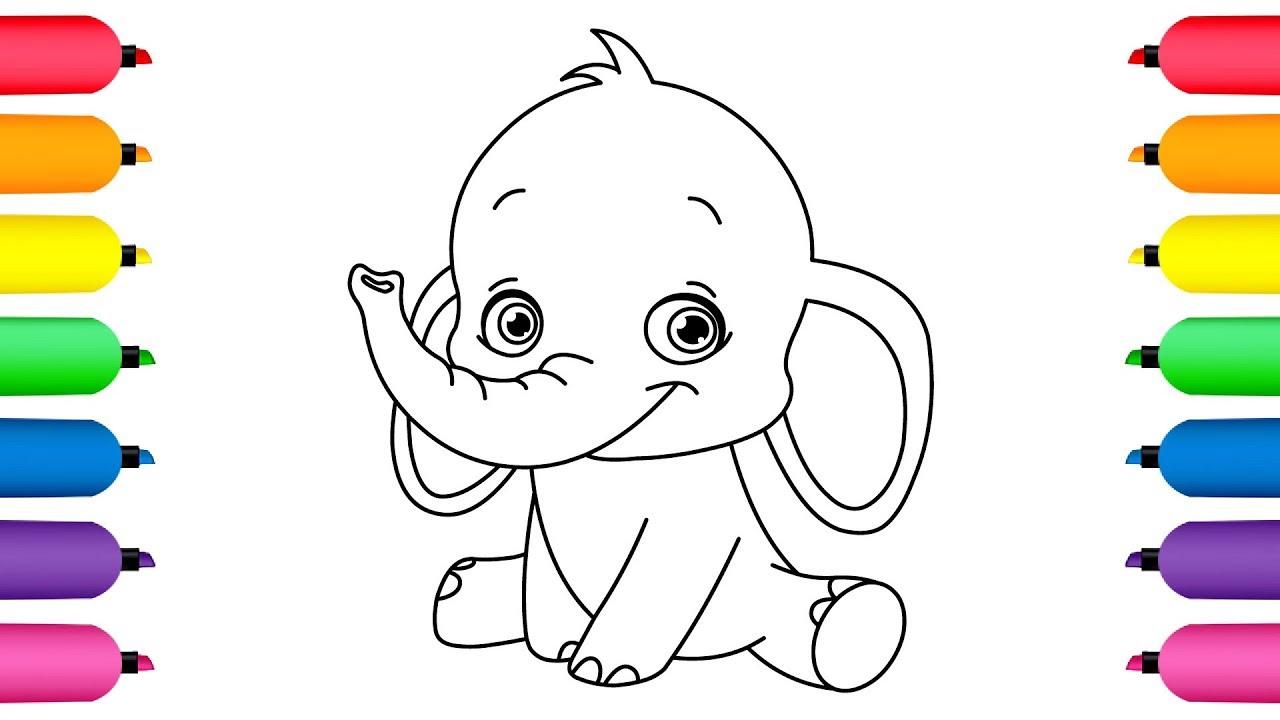 Mira Cómo Colorear Un Elefante Dibujos Animados Para Niños Y Bebés Dibusymas Youtube