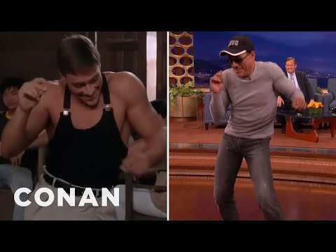 "jean-claude-van-damme-recreates-his-""kickboxer""-dance-scene---conan-on-tbs"
