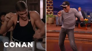 "Jean-Claude Van Damme Recreates His ""Kickboxer"" Dance Scene  - CONAN on TBS(CONAN Highlight: The Muscles From Brussels can still kick butt and shake his booty like a boss. More CONAN @ http://teamcoco.com/video Team Coco is the ..., 2015-05-12T02:22:47.000Z)"