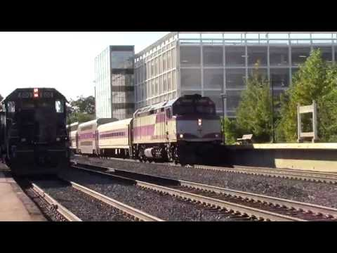 HD MBTA train meets Pan Am train EDPO at Lawrence station 10-7-16