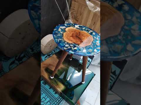 Olive and cristal wood live edge Epoxy resin table - Agartha Workshop - ETSY