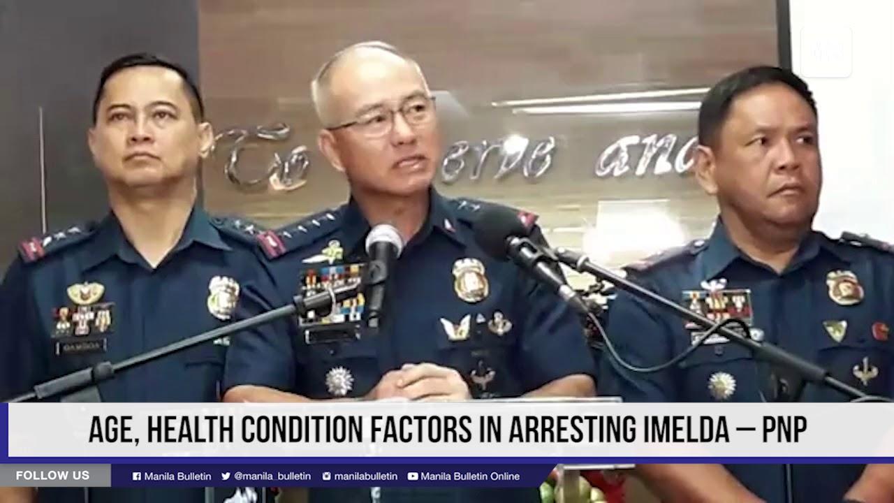 Age, health condition factors in arresting Imelda – PNP