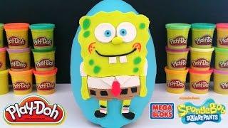 giant spongebob surprise egg play doh soft spots blind bags gpk spongebob toys
