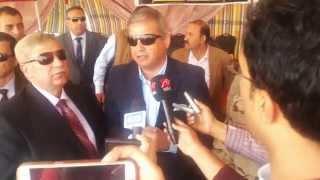 وزير الشباب ومحافظ الاسماعيلية واللواء كامل الوزير فى قناة السويس الجديدة مارس 2015