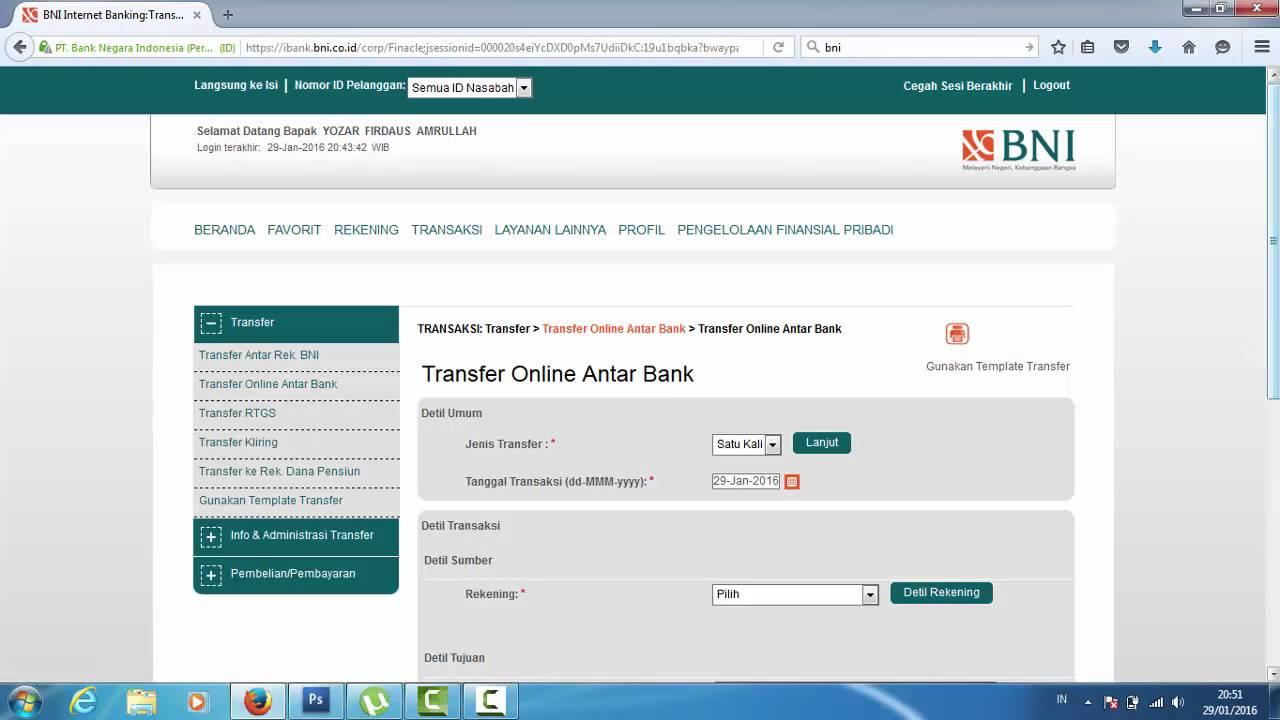 Cara Transfer Uang Menggunakan BNI Internet Banking - YouTube