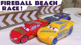 Cars Lightning McQueen Fireball Beach Race with Cruz Ramirez and Hot Wheels Superhero Cars TT4U