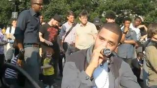 J COLE  SPENDING TIME WITH HIS FANS IN UNION SQUARE PARK NYC djzeketv
