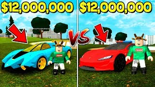 $12,000,000 LAMBORGHINI vs $12,000,000 TESLA ROADSTER RACE! (ROBLOX VEHICLE SIMULATOR)