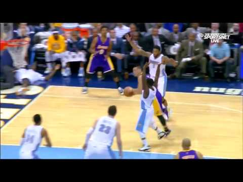 December 30, 2014 Lakers vs Nuggets Jeremy Lin And 1 Layup