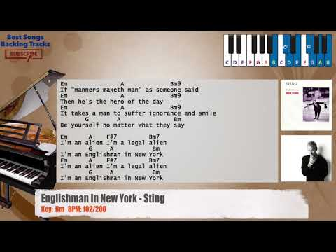 Englishman In New York - Sting Piano Backing Track with chords and lyrics