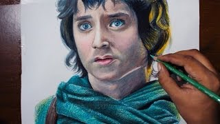 Drawing Frodo Baggins (Elijah Wood) from Lord of the rings films - Prismacolor pencils.