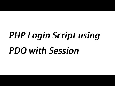 PHP Login Script Using PDO With Session