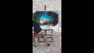 Художник берет краски , наносит мазки.....