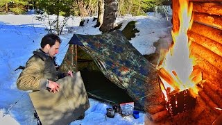 Solo Winter Camping wİth a Tent and some Bushcraft