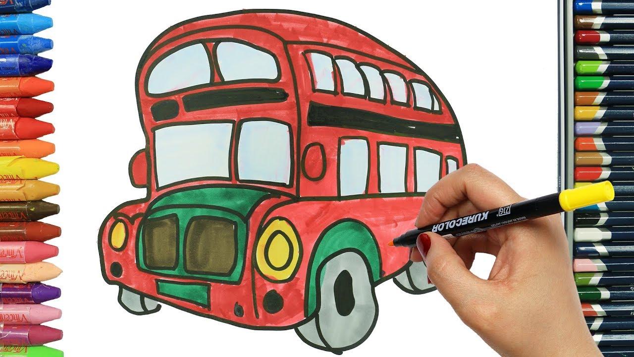 çift Katlı Kırmızı Otobüs Nasıl çizilir çocuklar Için Eğlenceli