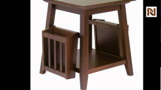 Winsome Angolo End Table With Double Magazine Holder And Shelf 94618